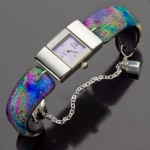 #16 Silver Watch with Watercolor Glass Band