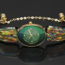 #01A Oval Green Watch – Autumn Granite Glass Band
