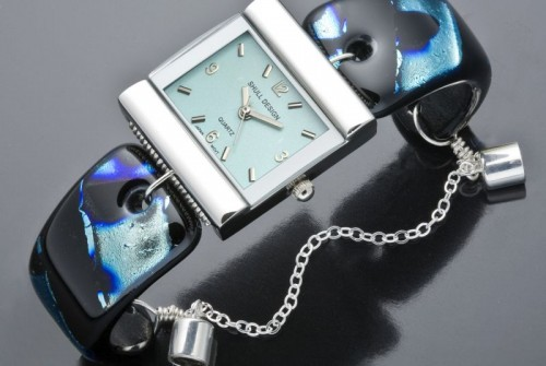 #49 Midnight and Silver Watch (Aqua Face)