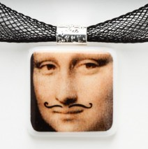 #61 Mona Lisa with Mustache Pendant