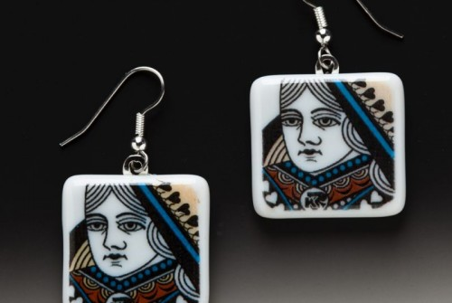 #61 Playing Card Queen Earrings