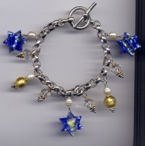Charm Bracelet with Crystal Pearl and Stars