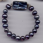 Black Freshwater Pearl Bracelet w/ Silver Dichroic Clasp
