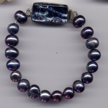 Black Freshwater Pearl Bracelet w/ Silver Dichroic Clasp