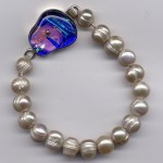 Champagne Freshwater Pearl Bracelet w/ Cobalt Dichroic Clasp
