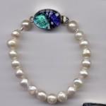 White Freshwater Pearl Bracelet w/ Aqua Blue Dichroic Clasp