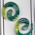 Earring teal green spiral