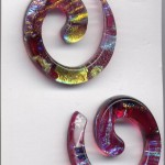 Earrings red spirals
