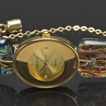 #11 Oval Gold Watch with Fipple Topaz Fantasy Band