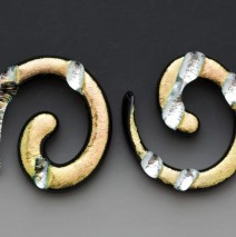 Gold and Silver Leaf Spiral Earrings