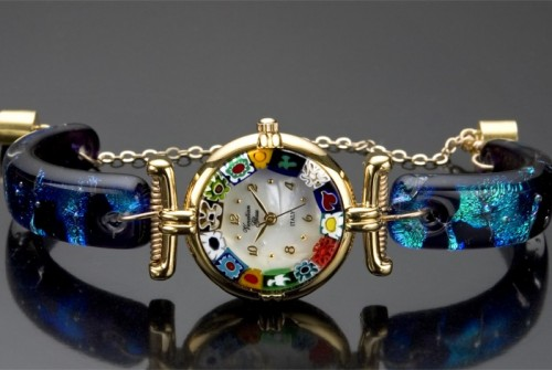 #12 Blue Murano Glass Watch