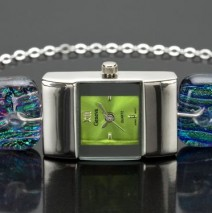 #42 Small Square Silver Watch with Lime Face and Ltd. Edition Crayola Band
