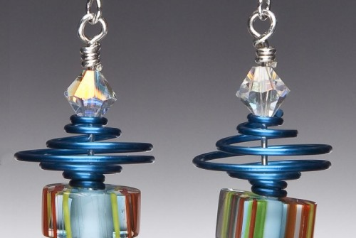 Teal Swirl Satellite Earrings
