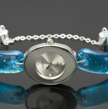 #44 Oval Silver Watch with Aqua Glass Band