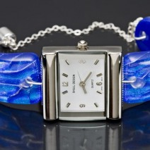 #48 Silver Watch with Periwinkle Band