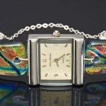 "#48 ""Chopstick"" Multi Colored Limited Edition Dichroic Glass Watch"