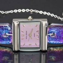 #48 Blue and Purple Dichroic Glass Watch