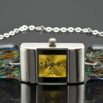 #42 Small Square Silver Watch with Gold Center and Limited Edition Crayola Band